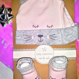 NWT!! 🐱Baby Girl's Pretty Kitty Hat & Sock Set 🐱